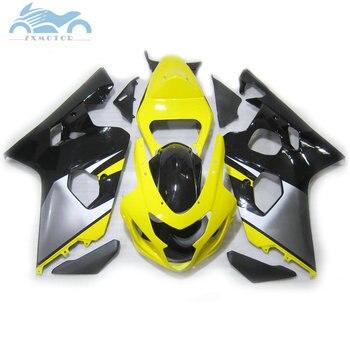 Customized Fairing set for SUZUKI GSX R600 750 2004 2005 motorcycle fairings kit 04 05 GSXR 750 GSXR600 K4 yellow gray bodyworks