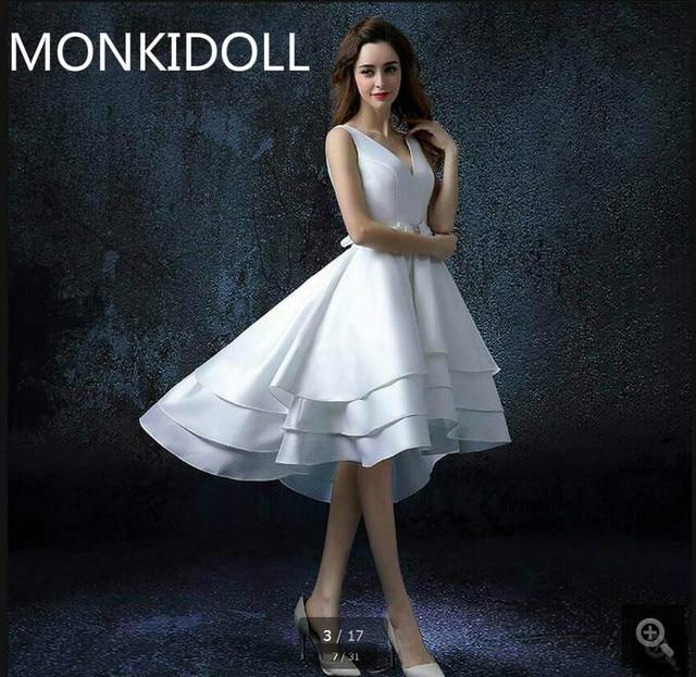 vestido de novia high low a line white satin wedding dress v neck