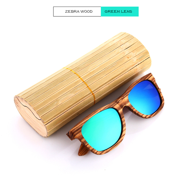 EZREAL Polarized Zebra Wood Sunglasses Men Women Hand Made Vintage Wooden Frame Male Driving Sun Glasses Shades Gafas With Box