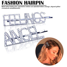 2019 Fashion Crystal Hairpin Shiny Rhinestones  Letters Hair Clips Accessories for Women Girls Chic