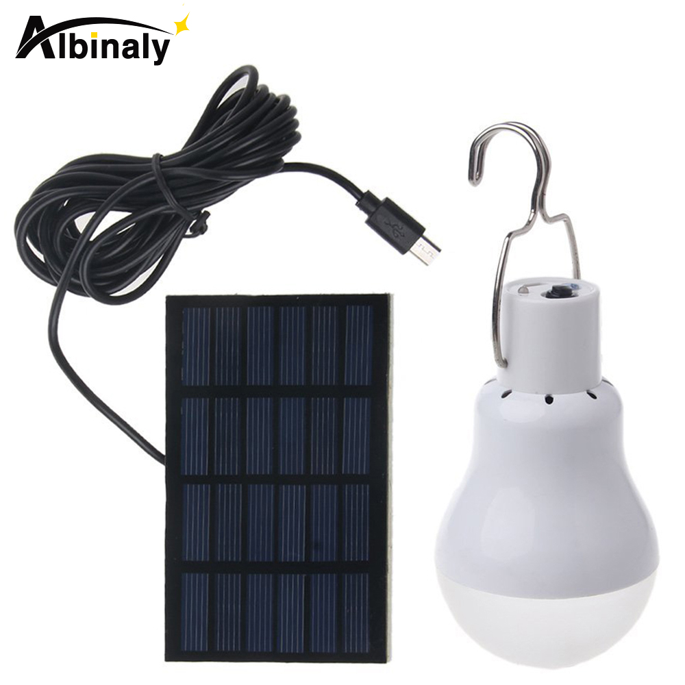 Albinaly LED Solar lamp 15w 130lm No flicker Solar Energy saving bulb lamp for Camping Tent Fishing Courtyard Emergency lighting