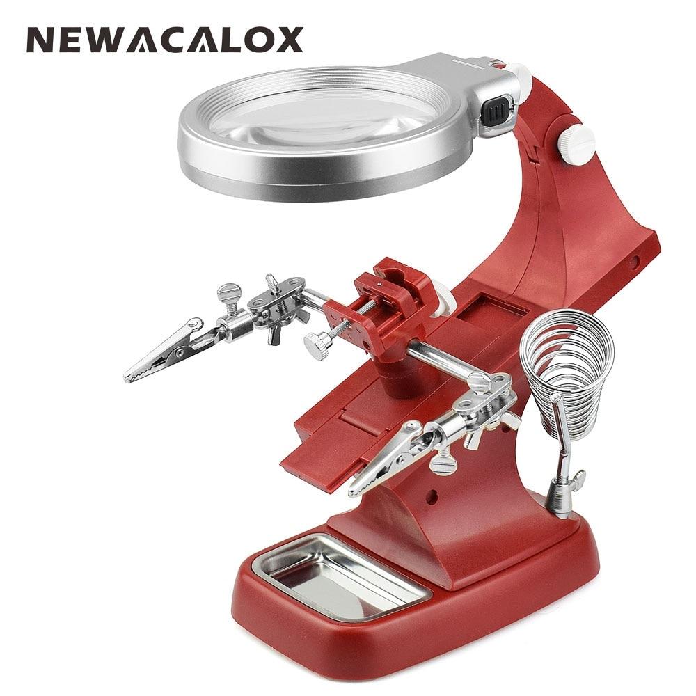 NEWACALOX LED iluminado escritorio lupa ayuda a mano abrazadera auxiliar pinza de cocodrilo soporte 10 luces LED lupa