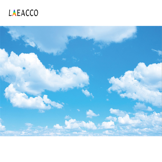 Laeacco Blue Sky Cloudy Party Wallpaper Home Decor Baby Natural Scenic Photography Backgrounds Photo Backdrops For Photo Studio