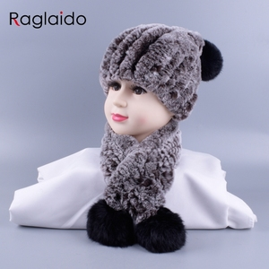 Image 5 - 4 10y Girl boys Knitted Real Rabbit Fur Hats Scarves Set Winter Genuine Natural Fur Cap with balls pompom beanies  scarf LQ11260