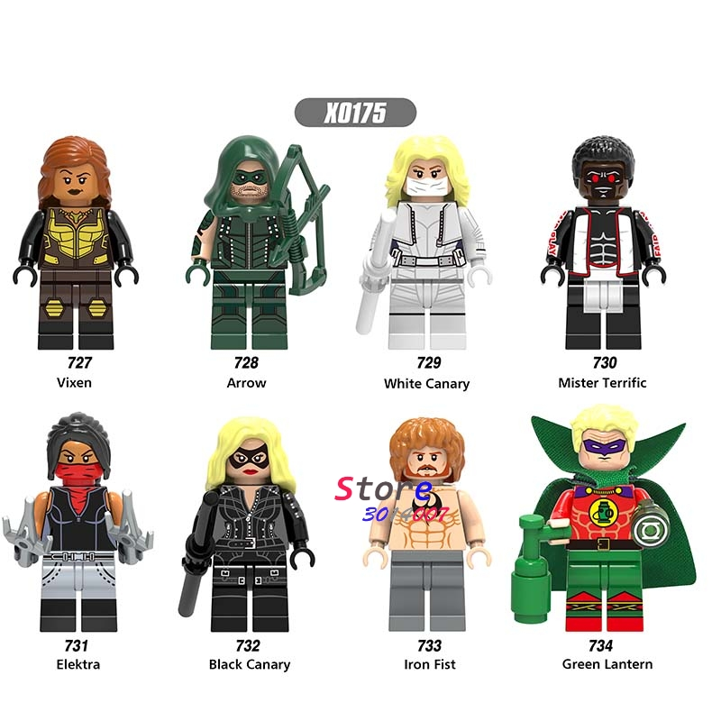 80pcs super hero Marvel Vixen green arrow white Black canary Mister terrific Elektra iron first building blocks toy for children