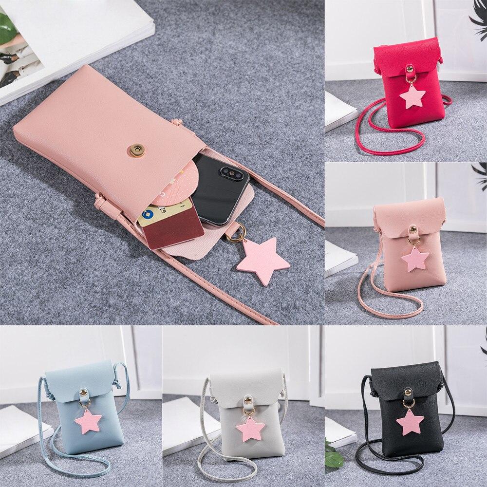Women Solid Star Cover Crossbody Bag Phone and Coin Messenger Bag Shoulder Bag for women 2017 luxury sac a main bolsa feminina S