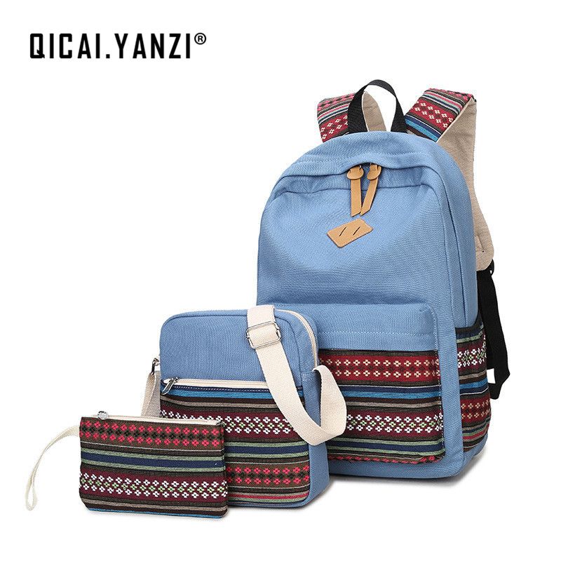 QICAI.YANZI College Style Book Bag+Messager Bag+Clutch 3pcslot Student Canvas Backpacks Girls Laptop School Bagpack Mochila Z531 objective ielts advanced student s book with cd rom