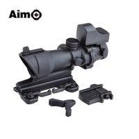 목표로 O ACOG 4x32 광학 소총 범위 미니 레드 도트 실제 레드 광섬유 화상 사냥 QD 마운트 1