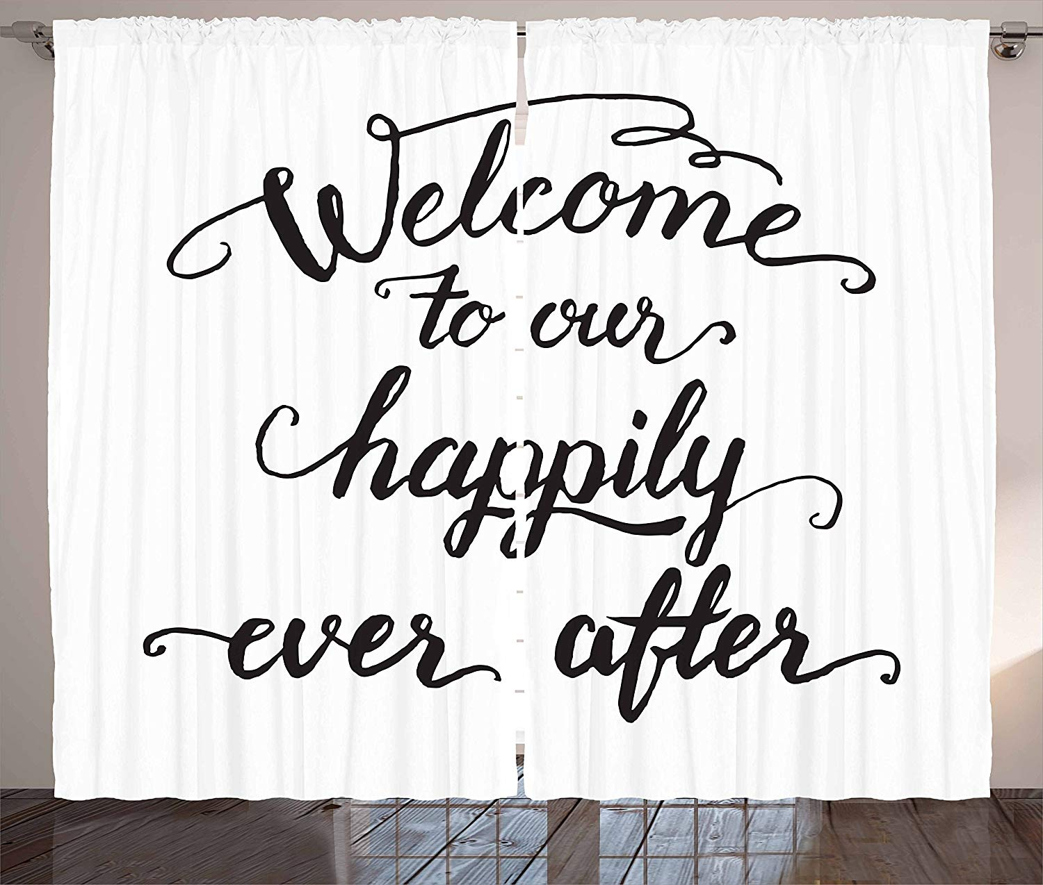 Quote Curtains Vintage Fountain Pen Lettering Wedding Phrase Welcome to Our Happily Ever After Living Room Bedroom Window Drapes image