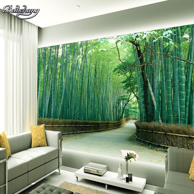 Beibehang large wall paper bamboo road photo wallpaper for Tv lounge sofa