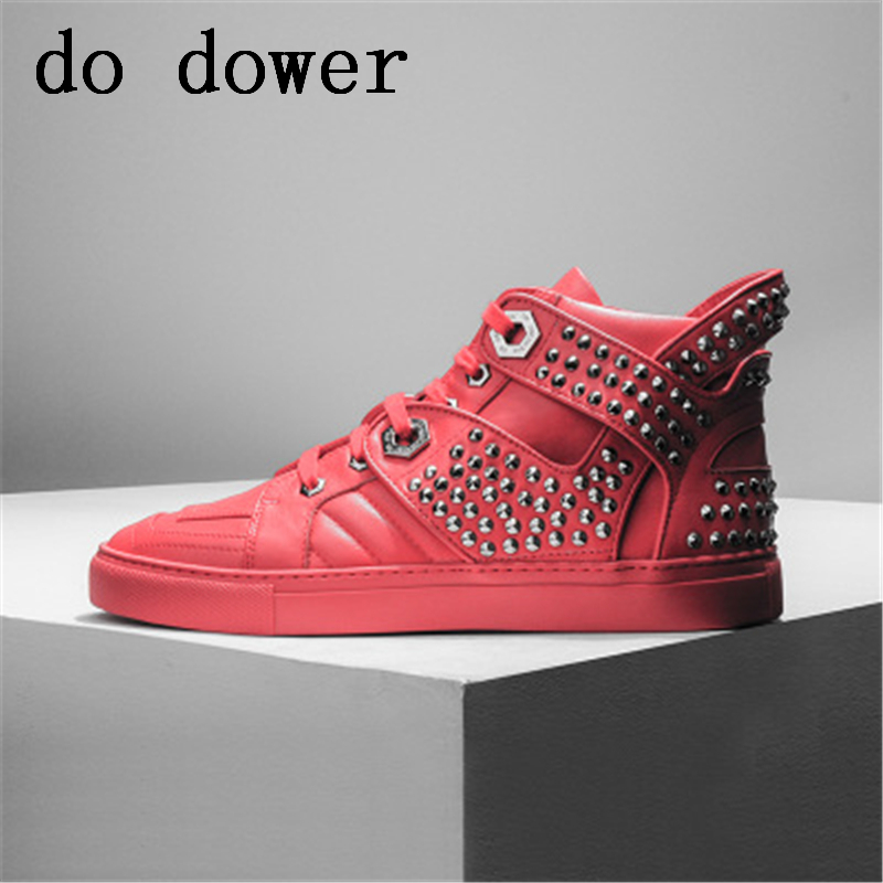 Spring Men Casual Shoes Winter Male Luxury Trainers Adult Ankle Boots Genuine Leather Solid Flats Rivet Red Popular Sneakers new men genuine leather shoes luxury trainers summer male adult shoes casual flats solid spring black lace up shoes