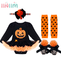 4PCS 2017 New Infant Baby Girls Halloween Pumpkin Outfits Long Sleeves Romper With Headband Leg Warmers