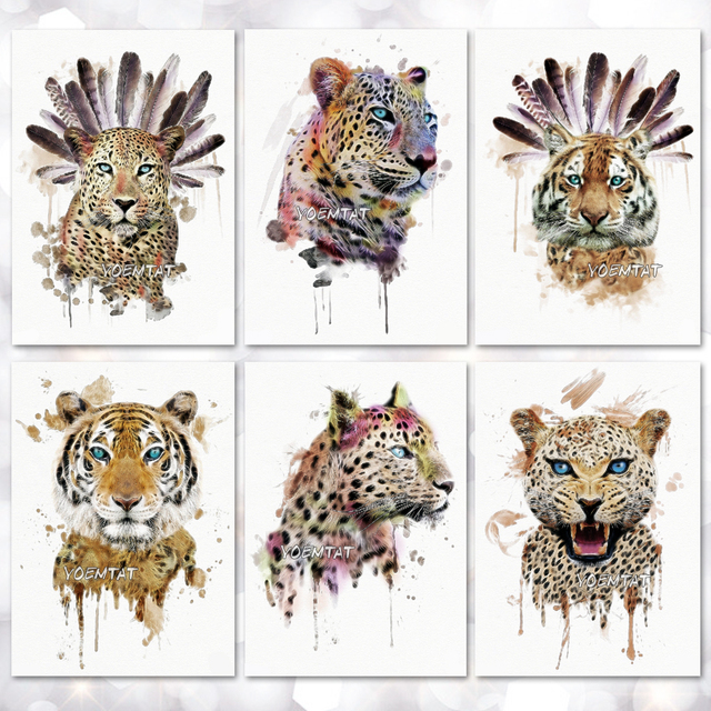 7ca1dfb69 Tiger Leopard Lion Pattern Temporary Tattoo Stickers Waterproof Women Fake  Hand Tattoos Adult Men Body Art