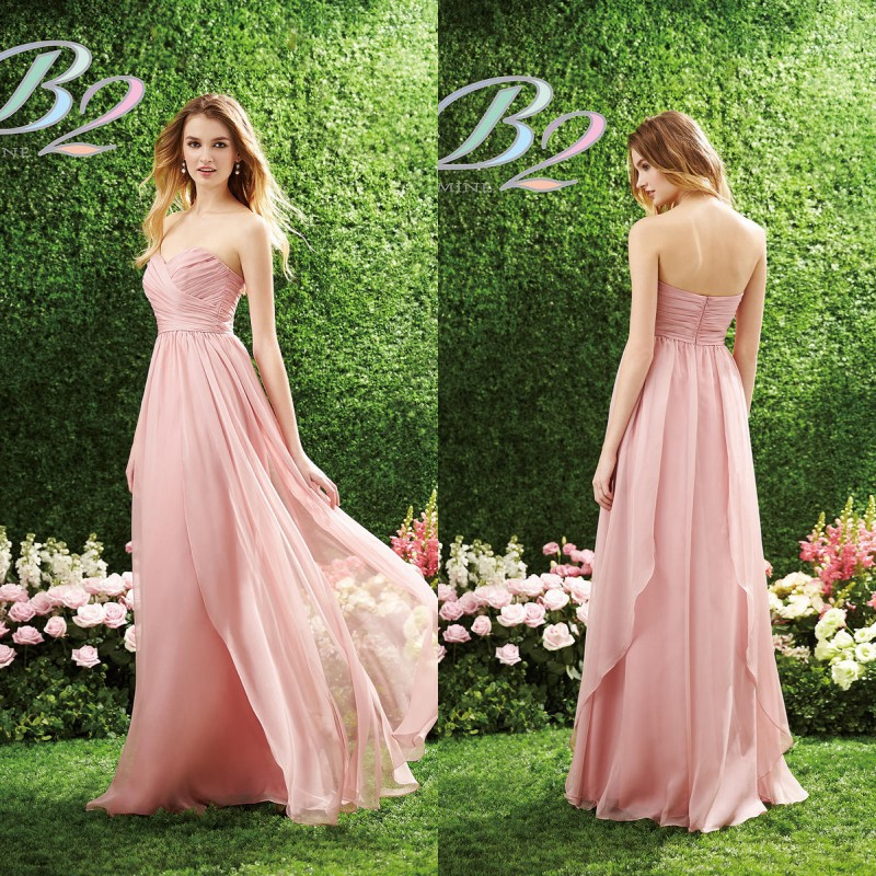 Long Gowns For Wedding Guests: 2015 Long Pink Bridesmaid Dress B2 By Jasmine Sweetheart