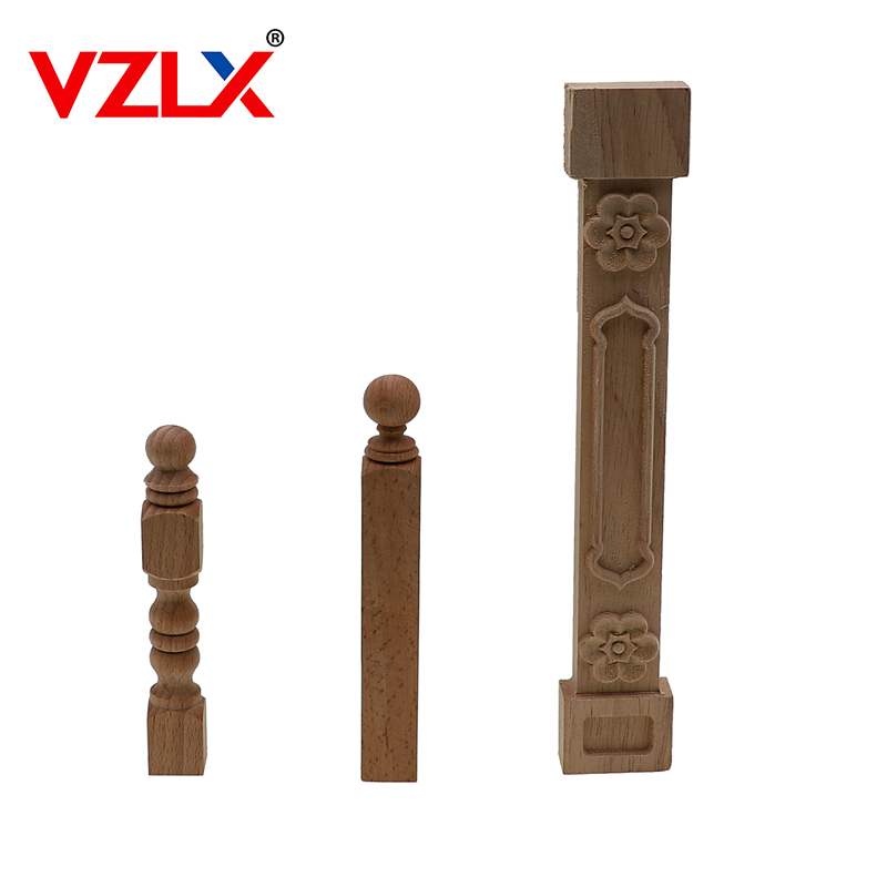 VZLX Natural Floral Wood Decal European Style Woodcarving Furniture Carved Applique Home Wooden Pillar Decoration Accessories