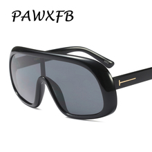 PAWXFB 2018 New Luxury Oversized Sunglasses Women Men Brand Designer Big Frames Goggle Black Oculos de Sol 400UV