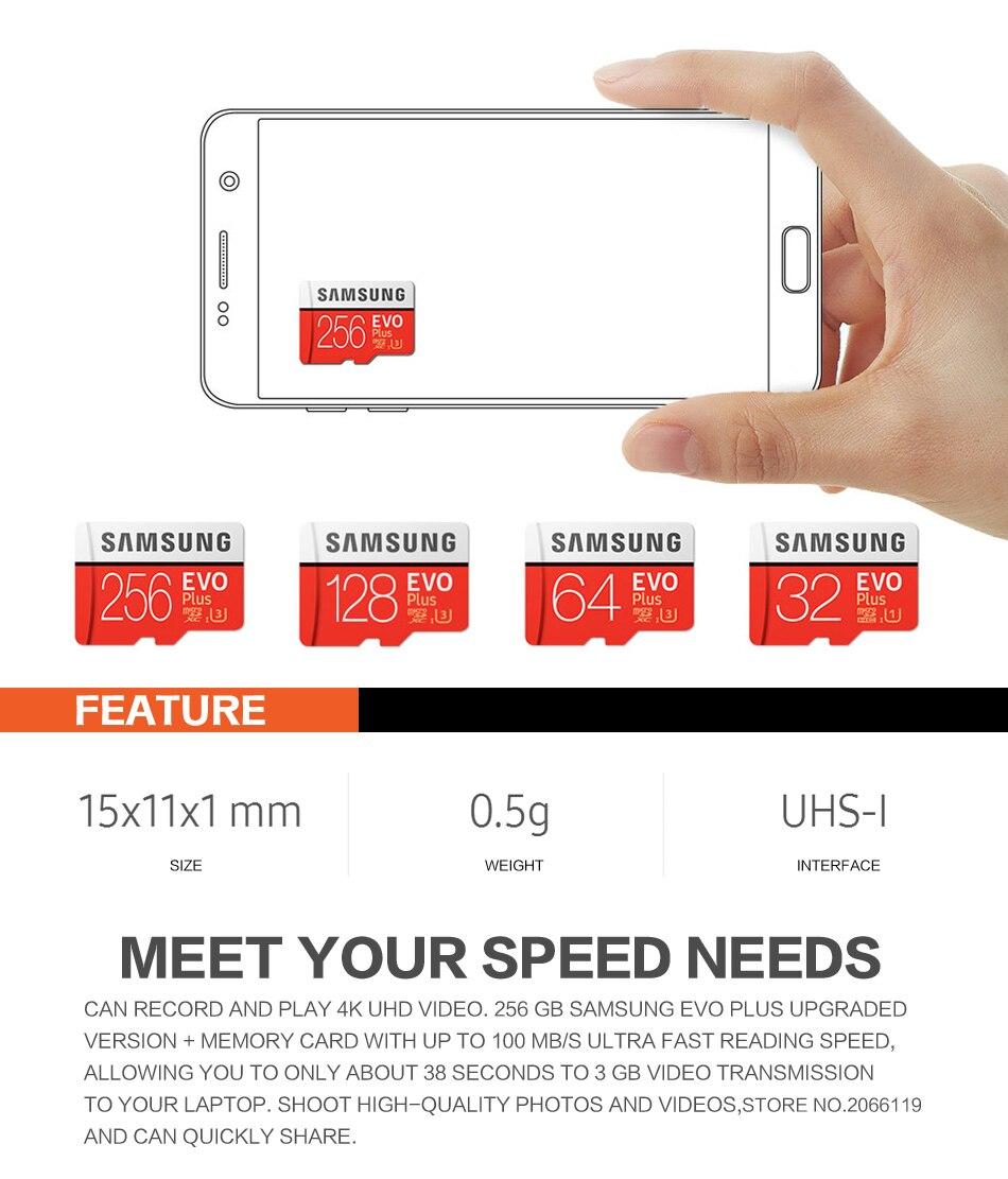 New product Original SAMSUNG EVO+ Memory Cards 64GB EVO plus U3 128 GB 256 GB Class10 Micro SD Card 32GB microSD UHS-I TF Card 1
