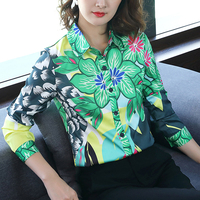 2018 Runway Designer Tops green flower Quality Women Fashion Retro Vintage Blouse Ladies Office Shirts Womens Tops And Blouses