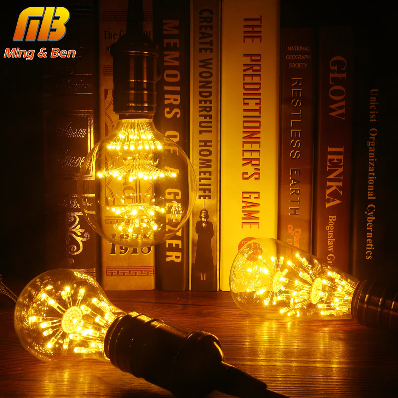 [MingBen]Vintage Classic E27 LED Stars Bulb ST64 G95 A60 AC220-240V Retro Antique Lamp for Coffee Bar Restaurant Home Decoration