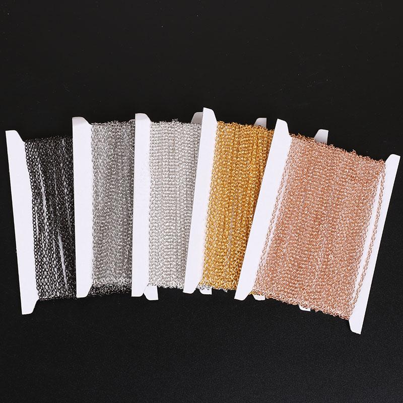 10 m/rolo de diâmetro 2/2. 5/3mm ferro metal correntes maioria colar componentes cor prata ouro ligação aberta corrente para fazer jóias diy