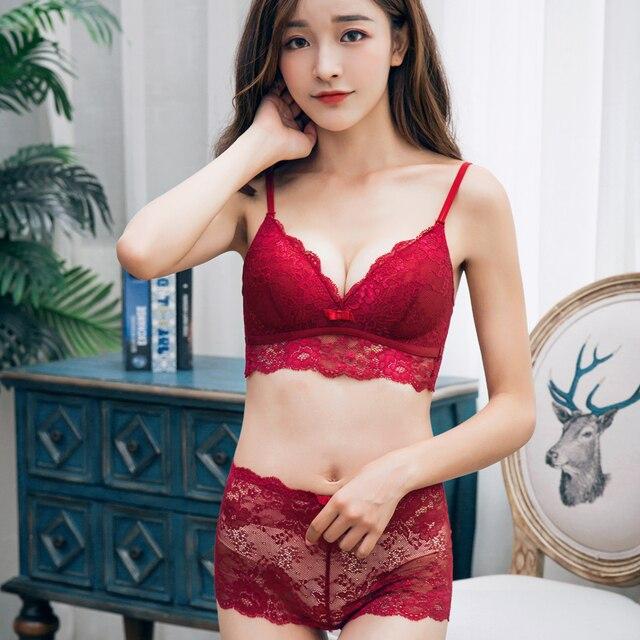 c71ed210e9c97 Sexy MINGMO Women Bra Set Ultra-thin Red Black Blue Pink Lace Bras  Underwear Plus