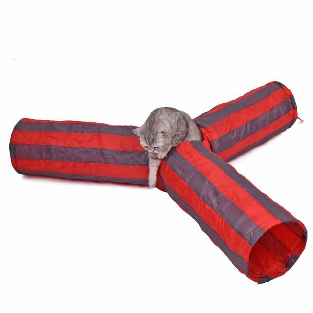 Pet Colorful Striped Playing Tunnel Rabbit Kitten 3 Hole Collapsible Tunnel Cat Foldable Long Play Toy Dog Products Bulk Crinkle