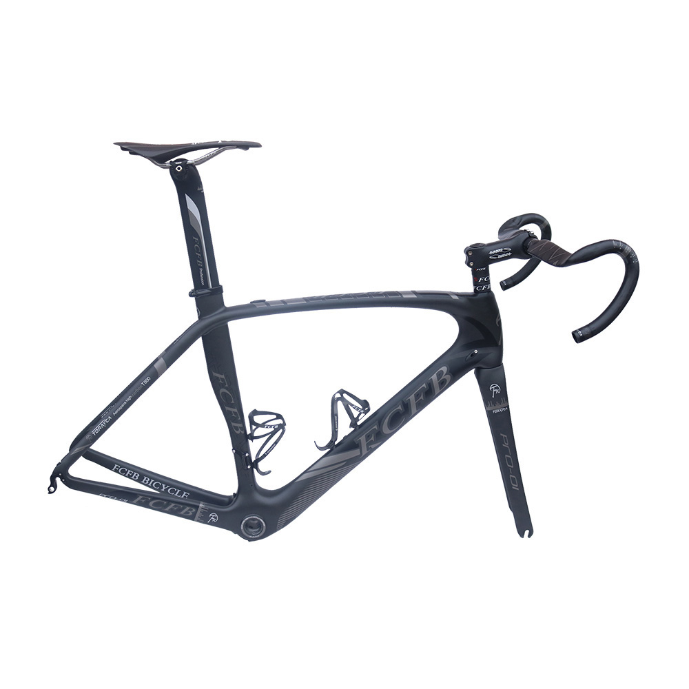 2017 FCFB carbon road bike Pro01 road carbon frame 49/52/54/56cm matt BSA bicicleta road bike frame with carbon handlebar carbon road