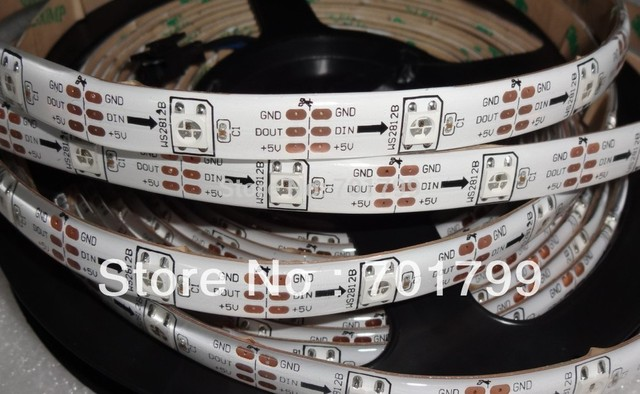 5m DC5V IP65 WS2812B led digital strip,30pcs WS2812B/M with 30pixels;36W;white pcb;waterproof in silicon