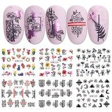 12 stücke Blossom Nagel Aufkleber Aquarell Blumen Tinte Schwarz Rose Streifen Band Muster Sliders Wasserzeichen Nail art Decor BEBN1213 1224