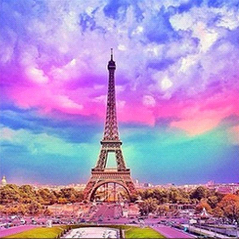 20x20cm Diamond Mosaic Diy Diamond Embroidery Paris Eiffel Tower Pictures Diamond Cross Stitch