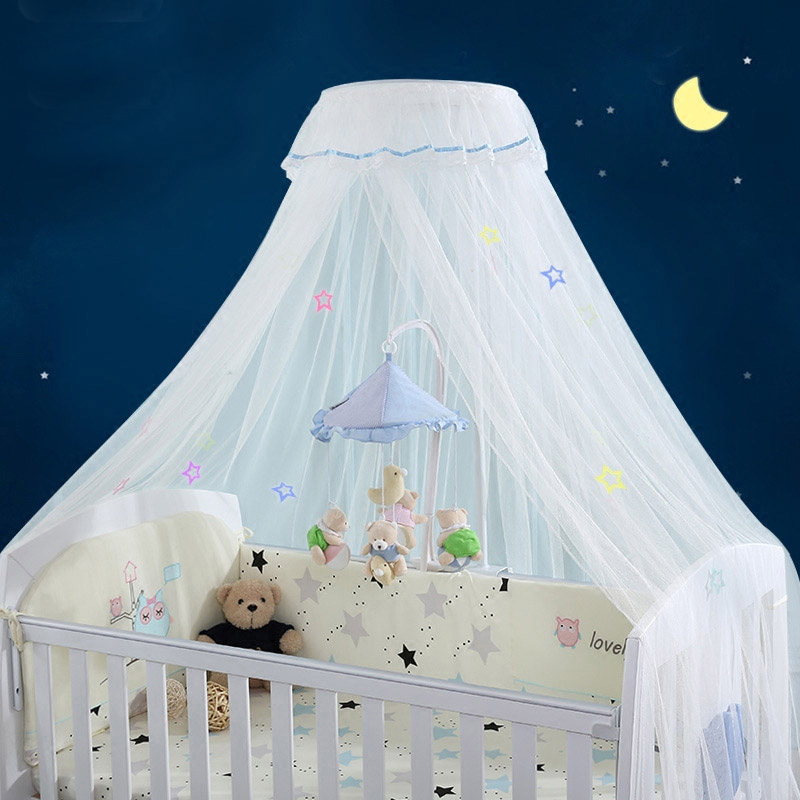 Palace Style Round Dome Crib Mosquito Net Luxury Baby Bed Mosquito Nets with Luminous Stars All-around Protect Baby Bed Canopy baby bed curtain kamimi children room decoration crib netting baby tent cotton hung dome baby mosquito net photography props
