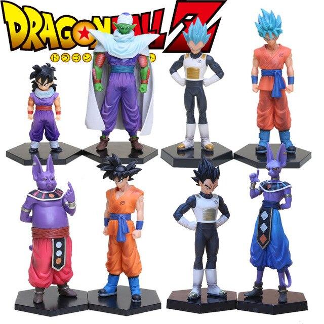 2 pçs/set 15-17 centímetros Dragon Ball Z Vegeta e Beerus Champa Piccolo Gohan PVC Figuras Colecionáveis Brinquedos Modelo