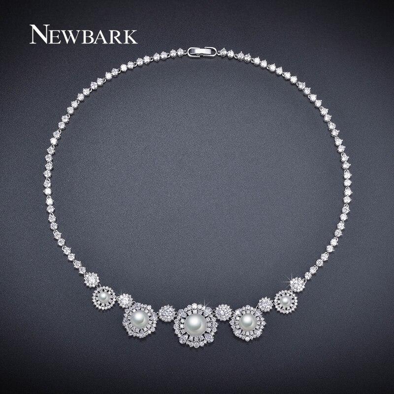 NEWBARK Élégant Simulé Perle De Mariée Colliers Argent Rond Couleur De Luxe Cubique Zircon Nouvelle Conception Collier De Mariage des Femmes