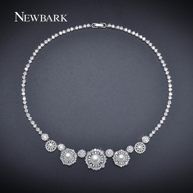 NEWBARK Imitation Pearl Jewelry Round Statement Necklace Flower Colar White Gold Plated Engagement Collier Femme Noble Chocker