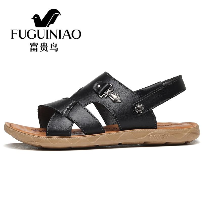 Zapatos Verano Hechos A Mano marrón Playa Hombres Negro De Cuero Sandalias Zancudas Más Zapatillas Tamaño Genuino Fuguiniao Casuales q8XzHwF