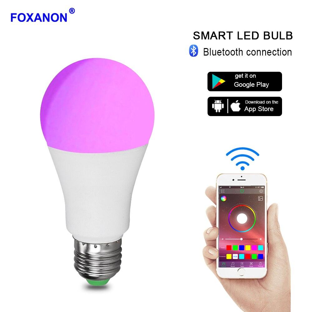 Foxanon RGB умная светодиодная с Bluetooth лампы E27 B22 15 W приложение музыка Голос Управление праздничного декора освещения лампы несколько Цвета светодиодный свет купить на AliExpress