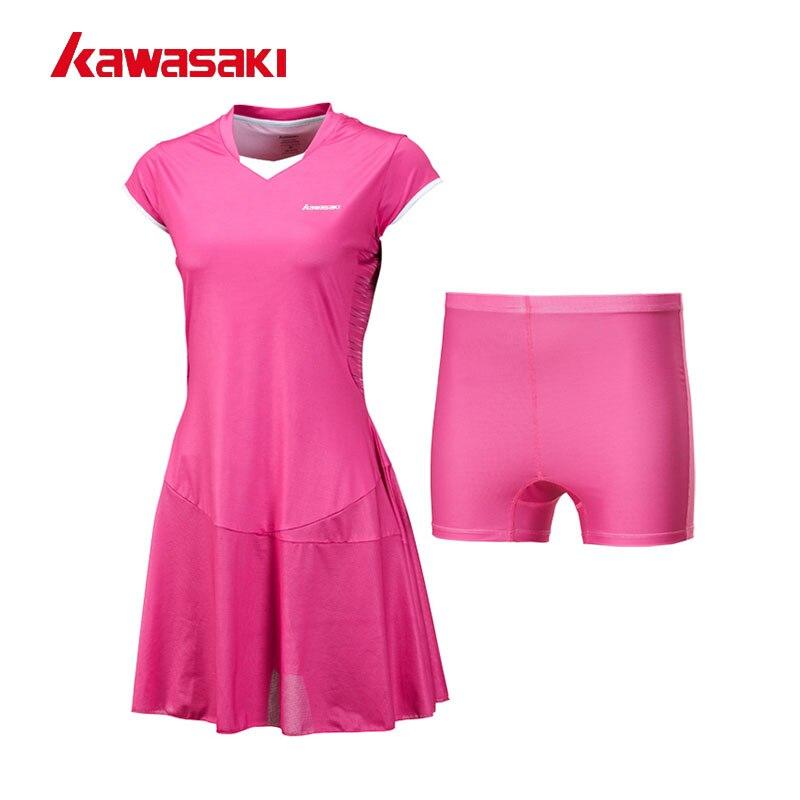 все цены на 2017 Kawasaki Female Tennis Dresses with Shorts for Women Girls Quick Dry 100% Polyester Sports Dress Netball Clothes SK-172701