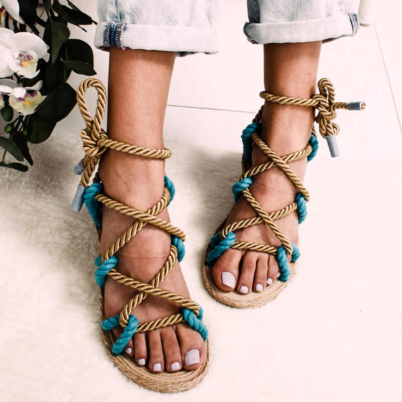 Frauen Sandalen 2019 Mode Sommer Schuhe Frau Flache Sandalen Hanf Seil Lace Up Gladiator Sandalen Nicht-slip Strand Chaussures femme