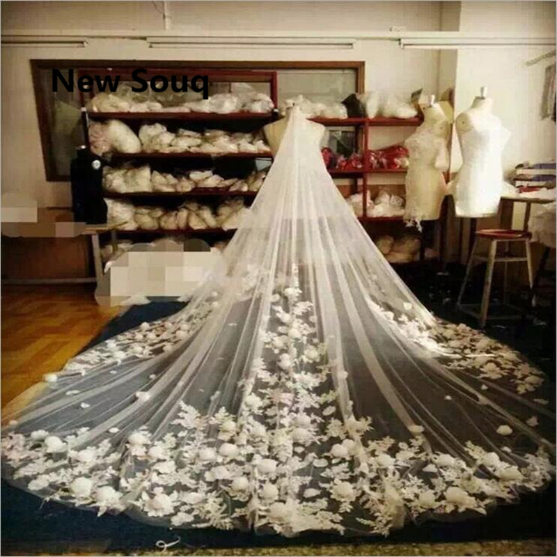 Cathedral Length Long Wedding Veils With 3D Flower Bridal Veil For Wedding Dress In Stock Wedding Accessories velo de novia