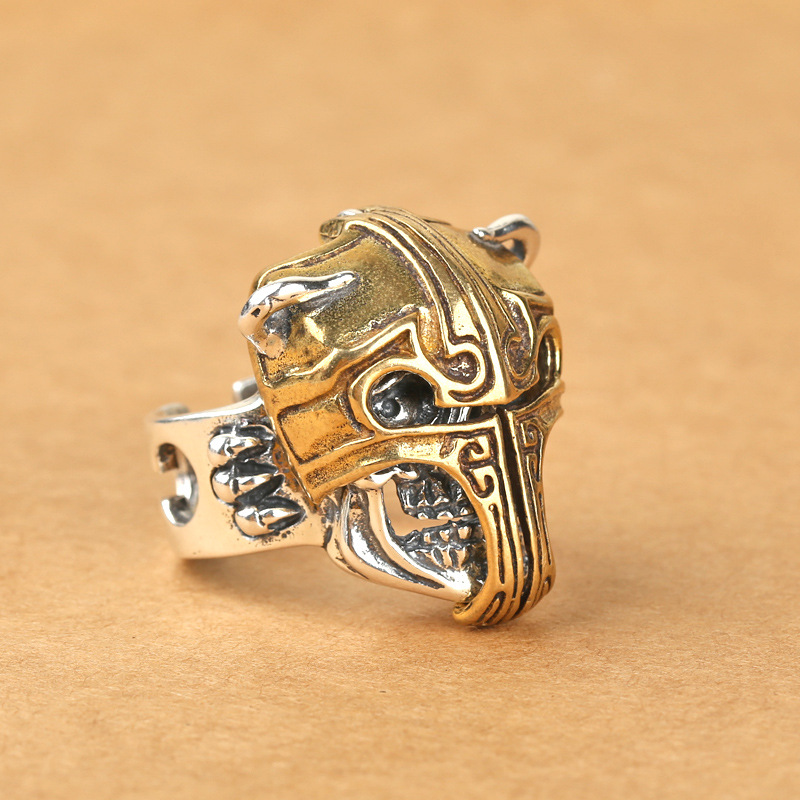 S925 sterling silver jewelry inlaid copper skull head fighter helmet ring men domineering wide ring Retro