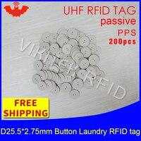 Rfid Прачечная кнопку тег UHF 915 мГц 868 мГц 860 960 мГц чужой H3 200 шт. Бесплатная доставка Пассивные RFID PPS тепла и сопротивление воды тег