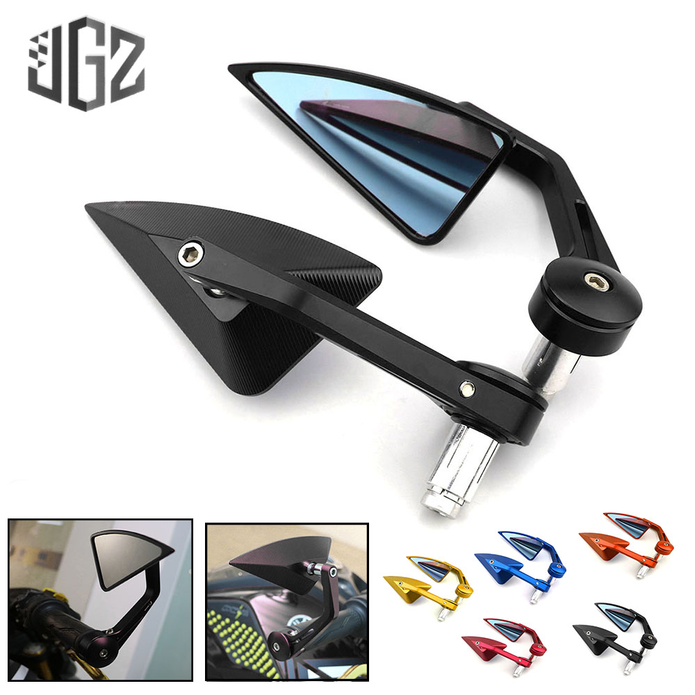 Pair 22mm CNC Aluminum Universal Motorcycle Handle Bar End Rear View Side Mirrors for Honda Scooter Yamaha Modified AccessoriesPair 22mm CNC Aluminum Universal Motorcycle Handle Bar End Rear View Side Mirrors for Honda Scooter Yamaha Modified Accessories