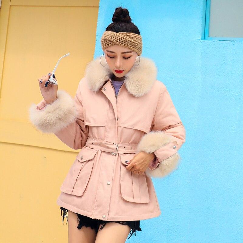 Noir Court Veste rose D'hiver Rembourré kaki Chaud jaune Ceinture Coton Manteau Amovible Fourrure Épais Manteaux Femmes Grande Parka Arrivée Nouvelle 2018 Femme x4Fnw6UU