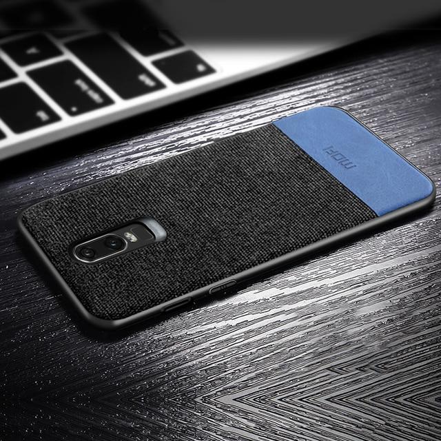 oneplus 6 case cover one plus 6 back cover silicone edge men business fabric shockproof case coque MOFi original 1+6 case 4