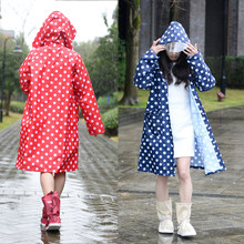 Hooded Raincoat Women Men Poncho Waterproof Long dots,Outdoor Travel Rain Coat Ponchos Jackets Female Cloak Chubasqueros Mujer(China)