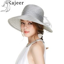 Kajeer Brim Pieghevole Abito Da Sposa Chiesa Cappello Della Spiaggia Del Cappello di Modo di Estate Cappelli Per Le Donne Visiera Lane e Filati Cap Derby Cappello Accessori(China)