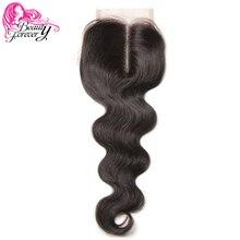 יופי לנצח פרואני תחרת סגירת שיער גוף גל רמי שיער טבעי 4*4 התיכון חלק סגירת 120% צפיפות צבע טבעי