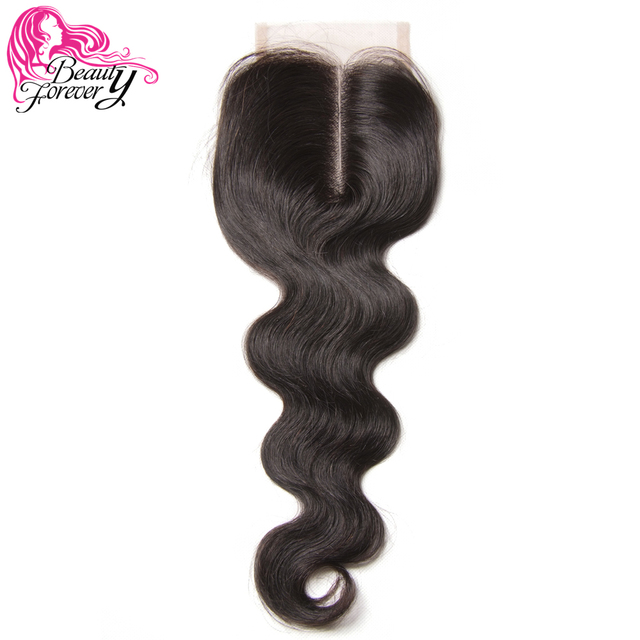 Beauty Forever Peruvian Lace Closure Hair Body Wave Remy Human Hair 4*4 Middle Part Closure 120% Density Natural Color