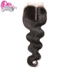 Güzellik sonsuza perulu dantel kapatma saç vücut dalga Remy İnsan saç 4*4 orta kısmı kapatma 120% yoğunluk doğal renkli