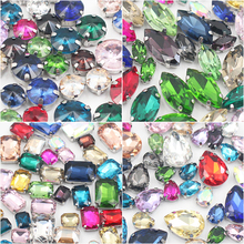 Mix Color Size Sew On Rhinestones 50pcs/lot Glass Crystals Silver Metal Claw Base Sewing Handwork For Clothes